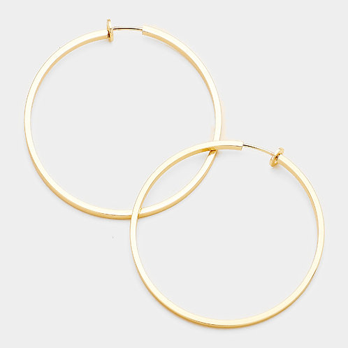 8cm Spring Clip On Hoops, Gold, squared tube
