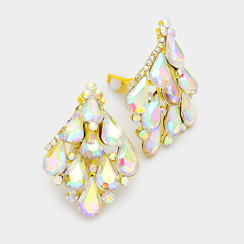 Shimmering AB Pear Drop Diamond Cluster Clip Earrings