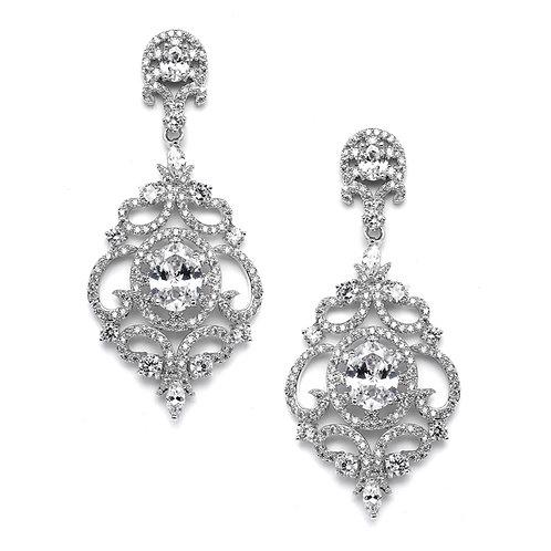 Clip-On Victorian Silver Scroll Earrings
