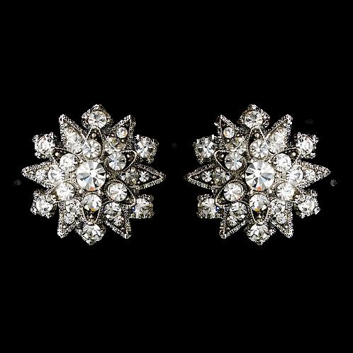 Starburst Crystal Clip Earrings in Antiqued Silver