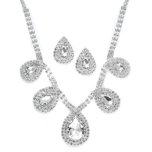 Rhinestone evening necklace and earrings set with large pear crystals