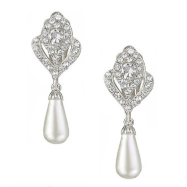 Crystal And Pearl Drop Clip On Earrings Silver