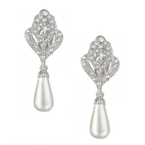 Crystal and pearl drop clip on earrings, silver