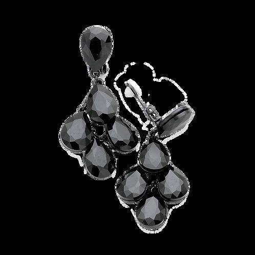 Jet black crystal clip-on earrings for evening wear