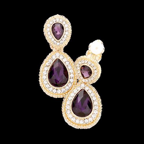 Dainty Pear Drop Clip Earrings, Gold Amethyst