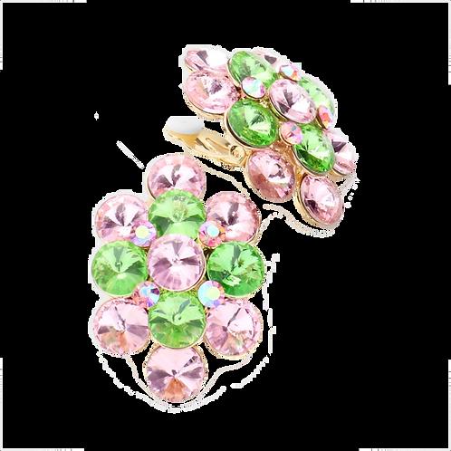Pink and Green Rhinestone Cluster Earrings