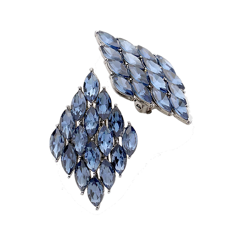 Marquis Diamond Shaped Clip Earrings, Blue