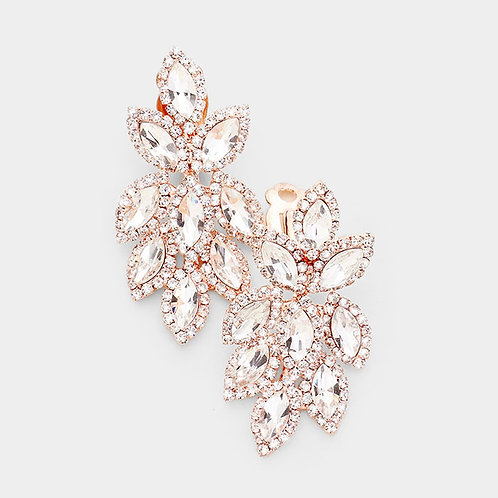 Short Crystal Feather Chandelier Clip Earrings, Rose Gold