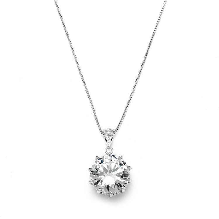 A 5 Carat Cubic Zirconia Pendant Hanging from a Silver Chain