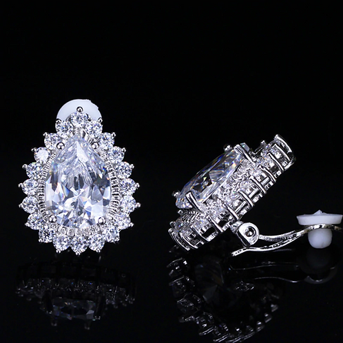 Framed 2 carat CZ Pear Drop Clip On Earrings