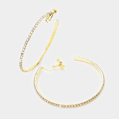 8cm Rhinestone Studded Clip-On Hoops, Gold
