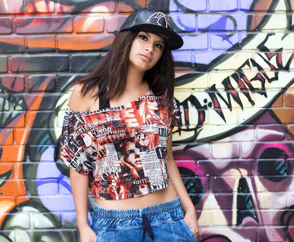 Model Rocking the Retro Hip Hop Fashion