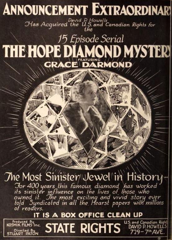 1921 Poster for the Serialised Movie The Hope Diamond Mystery