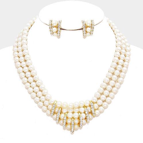 Triple Row  Cream Pearl Rhinestone Clip Earring Necklace Set