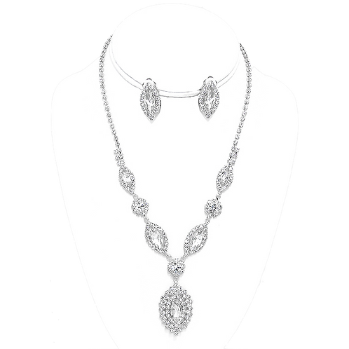 Marquis Crystal necklace set with clip earrings