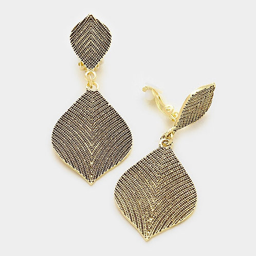 Antiqued Gold Petal Drop Clip Earrings