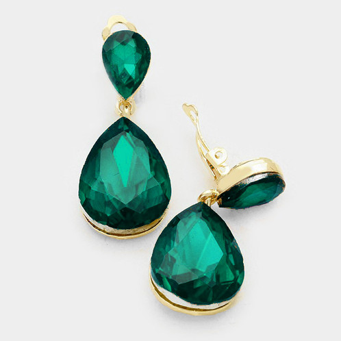 Bold Emerald Pear Drop Clip On Earrings