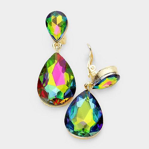 Rainbow Vitrail Pear Drop Fashion Clip Earrings