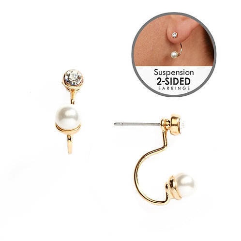 Gold pearl suspension earrings
