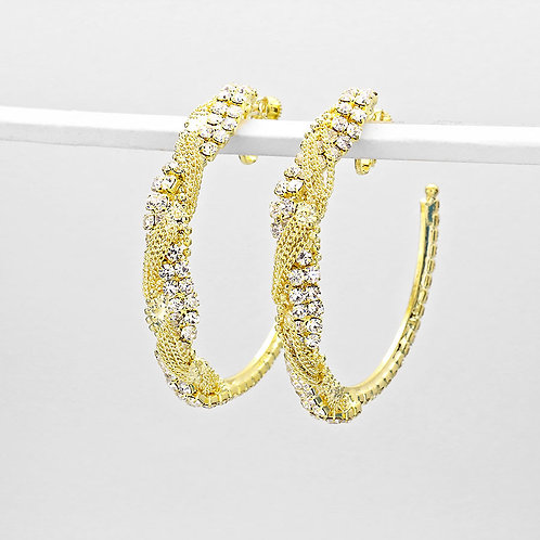 Gold and Rhinestone Open Hoop Clip Earrings