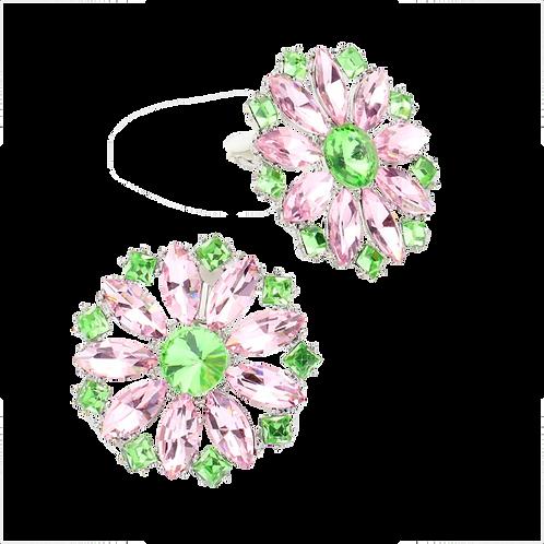 Pink Crystal Daisy Clip Earrings