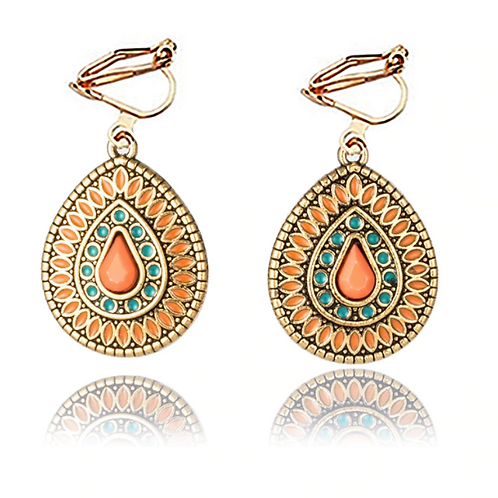 Aztec Inspired Tear Drop Clip Earrings