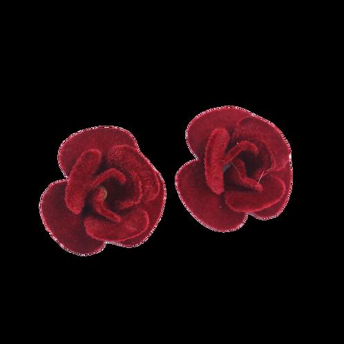 Velveteen Burgundy Rose Clip Earrings