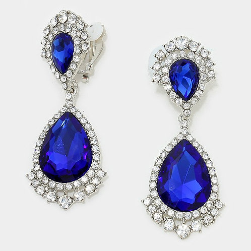 Large royal blue crystal clip on earrings