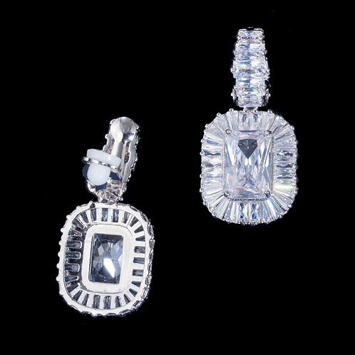 Emerald-cut CZ Occasions Clip Earrings