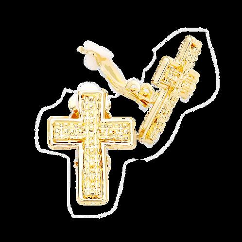 Gold Metal Cross Clip-On Earrings