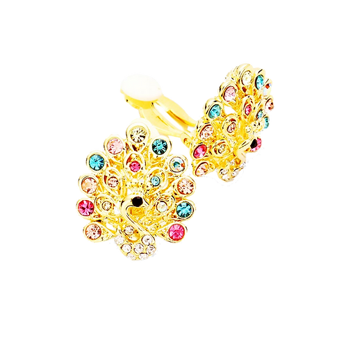 Colourful Gold Peacock Clip Earrings
