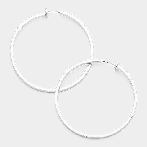 8cm Squared Tube Clip Hoops Silver