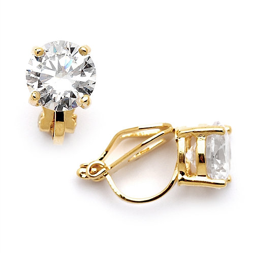8mm Crystal Clip-On Studs, Gold