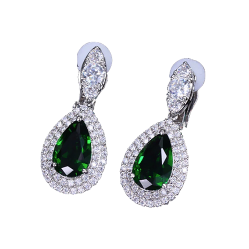 Double Pave Framed CZ Pear Drops, Green