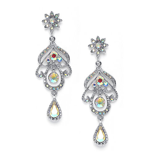 Aurora borealis crystal chandelier earrings