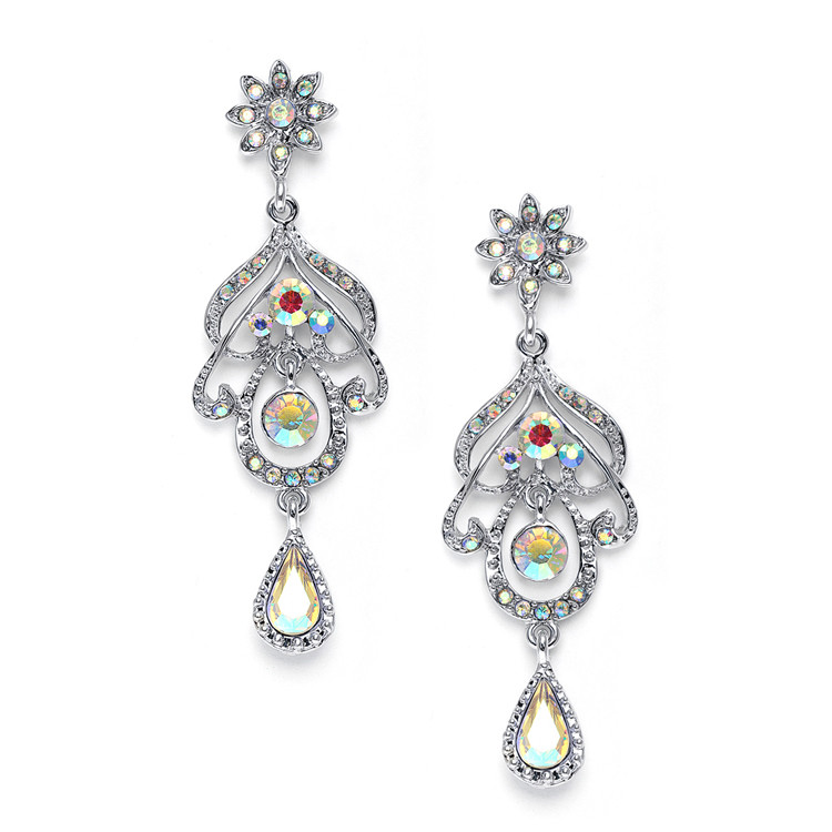 Fancy Drop Earrings with Aurora Borealis Crystals