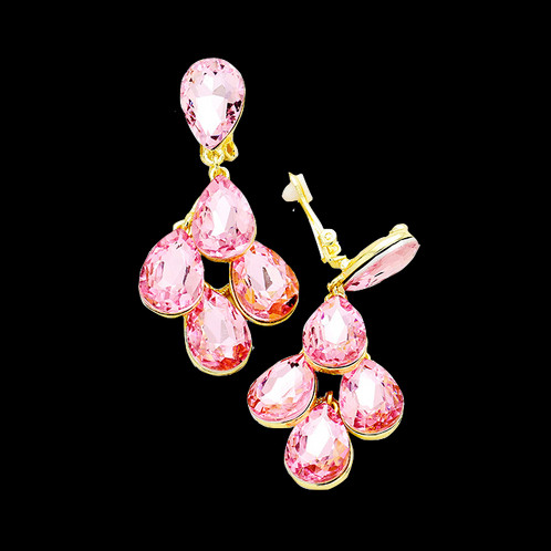 Large Pink Crystal Clip On Earrings