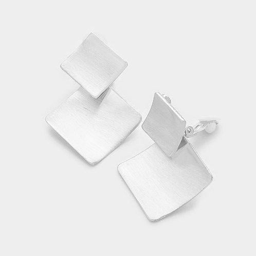 Double Diamond Silver Metal Clip Earrings