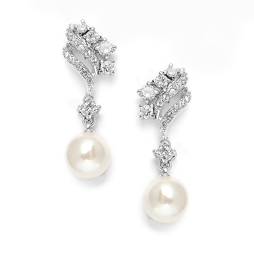 Cubic Zirconia Waves Clip On Wedding Earrings with Cream Pearls