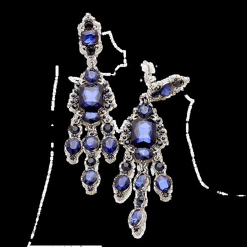 Deep Blue Crystal Long Chandelier Clip Earrings