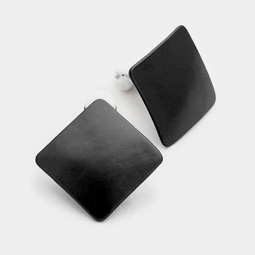 Black Lacquered Square Diamond Clip Earrings