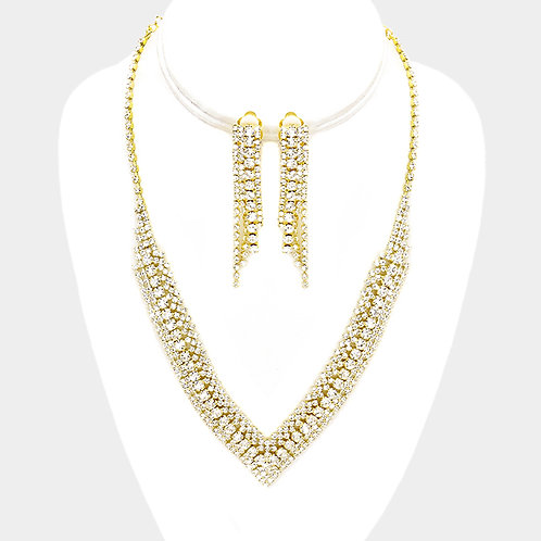 Gold rhinestone necklace set with clip-on earrings