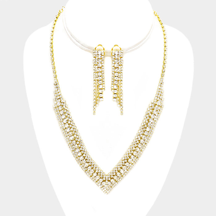 Rhinestone Clip Earring Necklace Set Gold