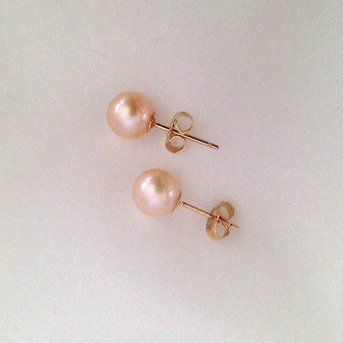 7mm Pink Pearl Studs with 14k Gold Posts