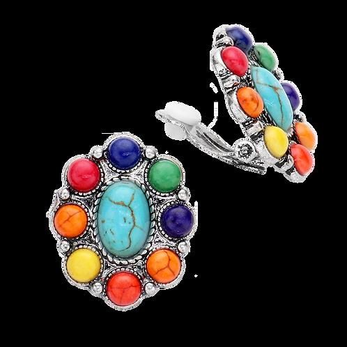 Retro Opaque Rainbow Oval Clip Earrings