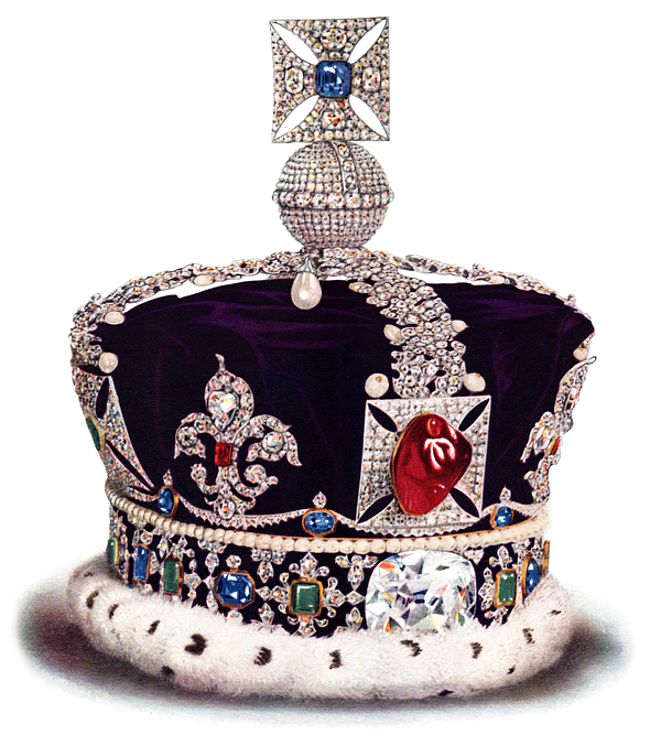 """Imperial State Crown of England with """"The Imposter"""" Black Prince's Ruby gemstone"""