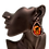 Happy Halloween Black Cat and Pumpkin Clip Earrings on Model