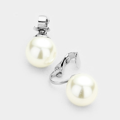 14mm Ivory Faux Pearl Clip On Studs