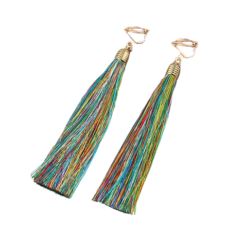 Rainbow Multicoloured Tassel Clip On Earrings