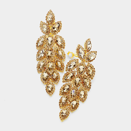 Crystal Feather Chandelier Clip Earrings, Topaz